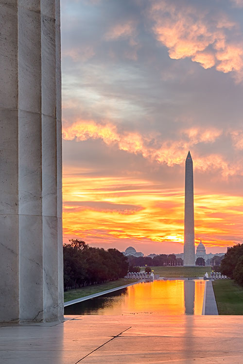 washington,d.c. monument at sunset