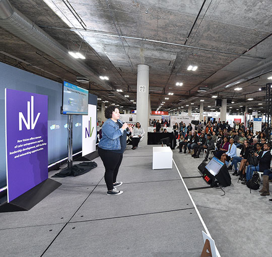 Amanda DoAmaral of Fiveable pitching at the $100K  New Voices Pitch Competition at CES 2020