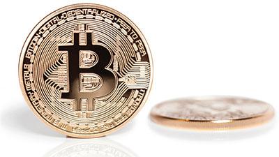 Close-up of a bitcoin