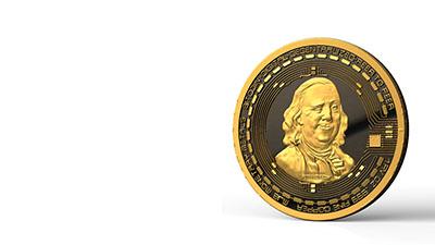 Benjamin Franklin smirking on Bitcoin