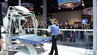 Robot playing ping pong with human