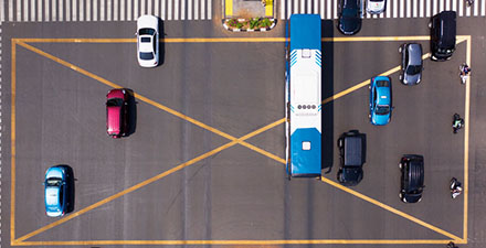 Vehicles in busy intersection